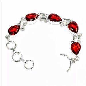"Jewelry - Boho natural garnet. 7-8"" silver bracelet"